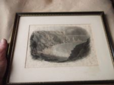 ANTIQUE FRAMED GLAZED TINTED ENGRAVING PRINT ANSTY'S COVE TORQUAY BESLEY c1860
